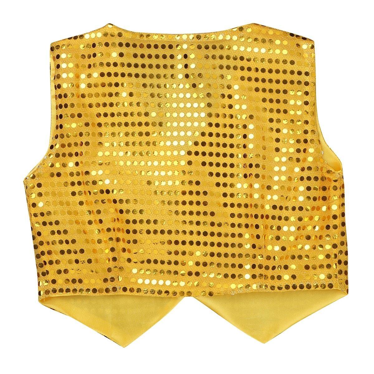 Kid Boy Girl Sequin Waistcoat Vest Jazz Dance Show Party Fancy Dancewear Costume