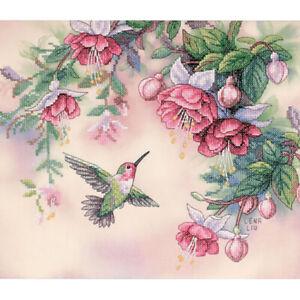 1X-Dimensions-Hummingbird-amp-Fuchsias-Stamped-Cross-Stitch-Kit-14-inch-X-12-6H1