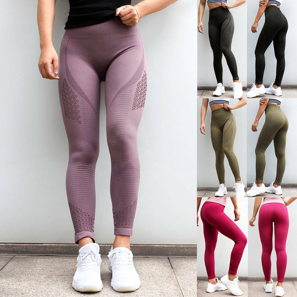 Women High Waisted Seamless Yoga Leggings Stretch Fitness Workout Pants Trousers