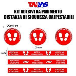 Kit Adesivi Calpestabile Sicurezza Negozi Distanza