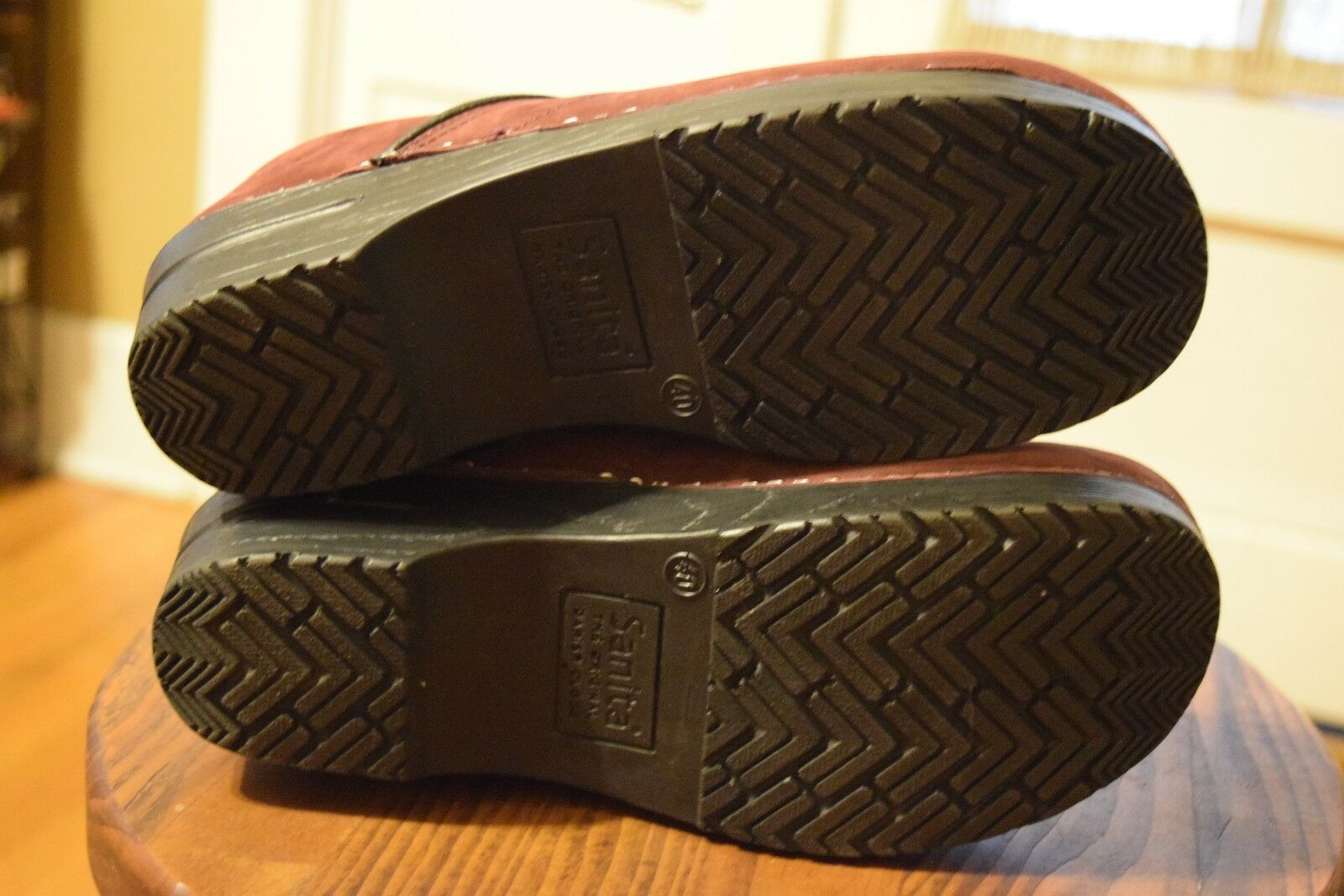 Zuecos Sanita Profesional mujer Borgoa Cuero Comodidad Zapatos para mujer Profesional 9-9.5 7f873a
