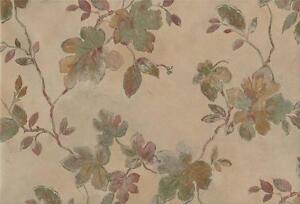 Wallpaper-Designer-Green-Plum-Tan-with-Metallic-Gold-Leaf-Vine-on-Beige-Faux