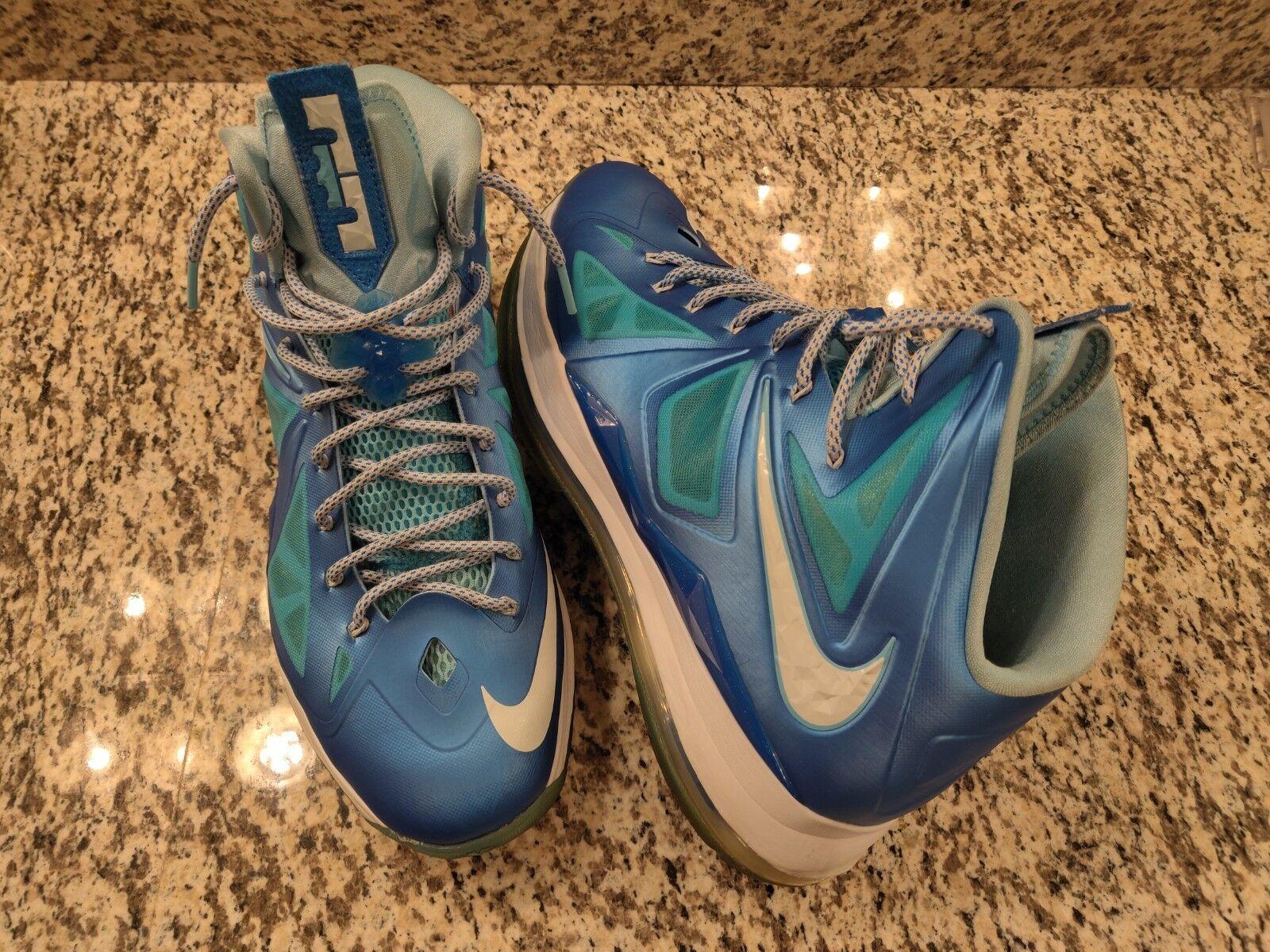 RARE Nike + 2012 Lebron 10 X Sport Pack bluee Diamond 542244-400 Sz 14
