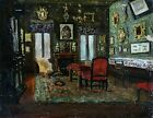 1860's FRENCH IMPRESSIONIST OIL - INTERIOR WITH PAINTINGS - INDISTINCTLY SIGNED