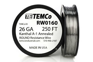 TEMCo Kanthal A1 wire 26 Gauge 250 Ft Resistance AWG A-1 ga