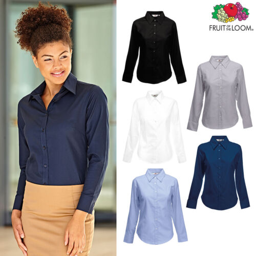 Fruit of the Loom Women Smart Work Blouse Lady-fit Oxford Long Sleeve Shirt