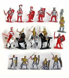 ROMAN-TOY-SOLDIERS-Cavalry-Infantry-Horses-Painted-Plastic-20-Pieces-FREE-SHIP