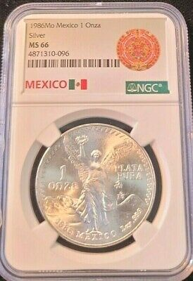1986 MEXICO SILVER LIBERTAD 1 ONZA NGC MS 66 AZTEC CALENDER LABEL BEAUTY !
