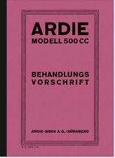 Ardie 500 ccm 1929 Bedienungsanleitung Handbuch Behandlungsvorschrift CC SV JAP