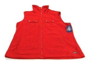 Chaps Sport Vest Red Full Zip Snap Front Pockets Side Pockets Fleece Womens XL