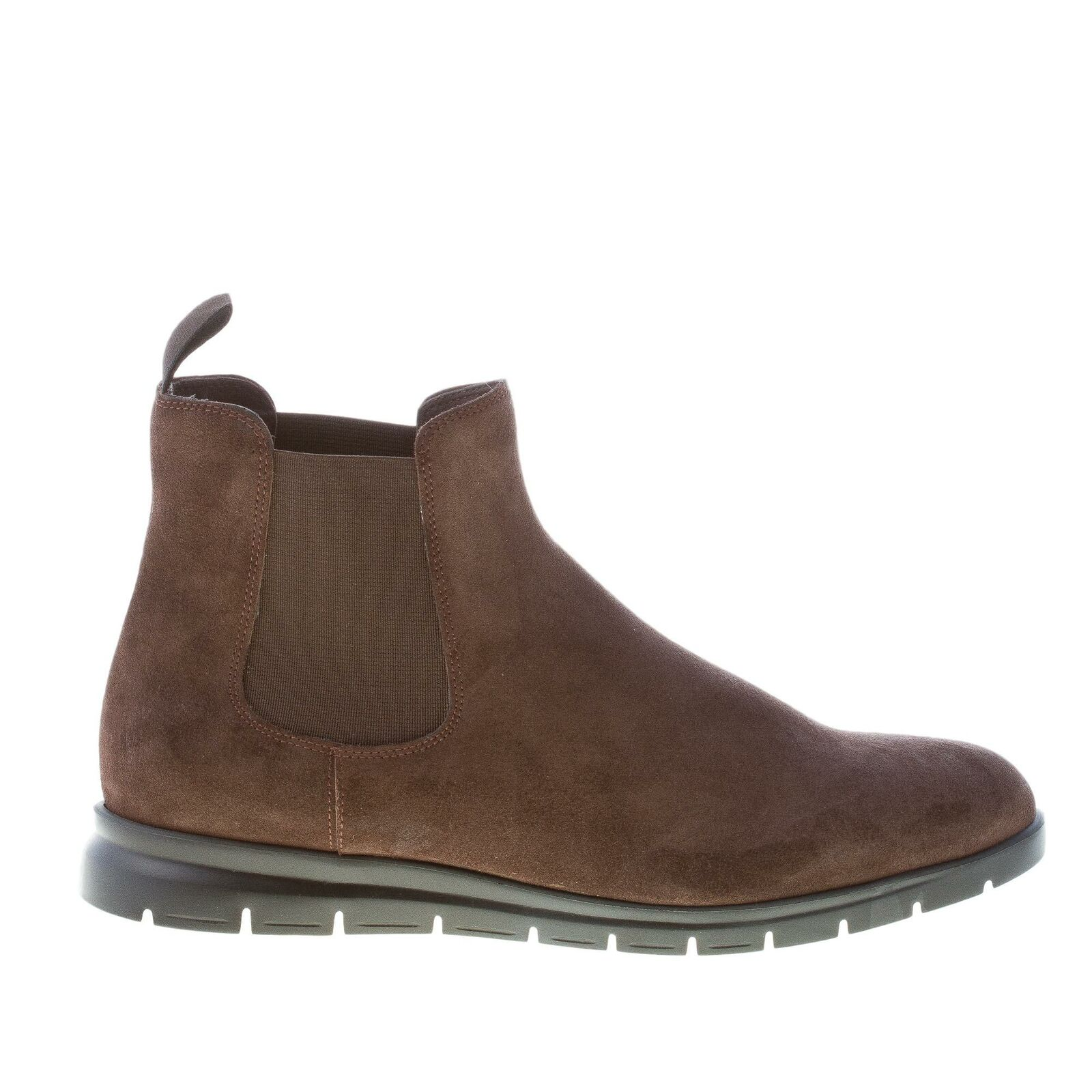 ORTIGNI men shoes Dark brown suede Chelsea boot with a plain toe made in Italy