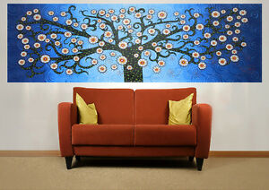 Huge-Fine-Large-Art-Painting-Tree-Blue-Landscape-modern-by-Jane-Crawford