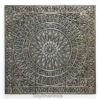 Large Wall Art Metal Square Medallion Sculpture 36 Hanging Old World Style