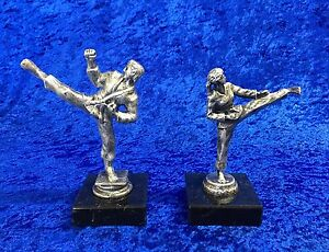 Martial-Arts-Antique-Silver-Figure-Trophy-Award-Karate-Judo-Kick-Boxing-FREE-eng