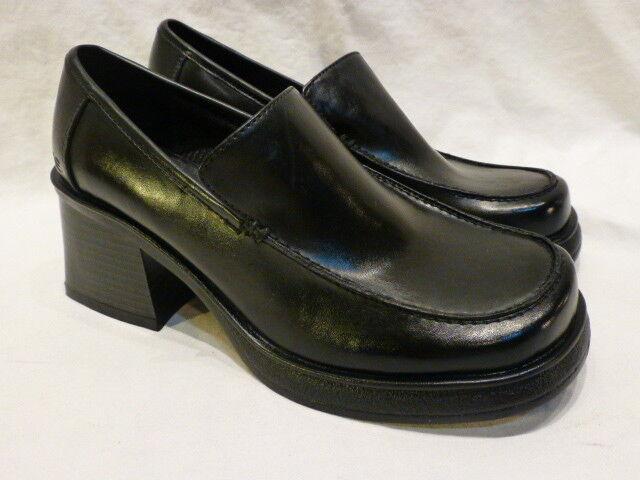 SKECHERS BLACK LEATHER PLATFORM CHUNKY HEELS SLIP ON Damenschuhe LOAFERS 6.5M 130