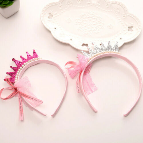 Girls Hair Bands Pearls Resin Lace Bow Ribbon Crown Princess Kids Accessories UV