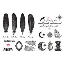 Black Butterfly Letter Transfer Waterproof Temporary Tattoo Body Art Sticker Q1H