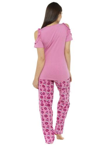 /'Mum Off Duty/' Pyjama 2 Piece Set 1186 Nightwear Short Sleeve Loungewear Pink