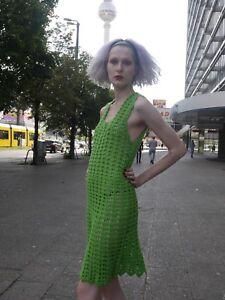 70 crochet S Vert 70 Hippie en True Knit Vintage M Années s Robe Unikat Dress HxB6fg