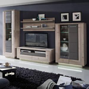 wohnwand 2 stairs anbauwand wohnkombi wohnzimmer nelsoneiche eiche grau mit led ebay. Black Bedroom Furniture Sets. Home Design Ideas