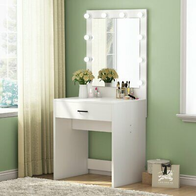 White Dressing Table Hollywood Led, Vanity Mirror With Lights For Bedroom