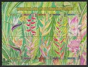 246i-MALAYSIA-1999-STAMP-WEEK-HELICONIA-FLOWER-PLANT-IMPERF-SET-FRESH-MNH