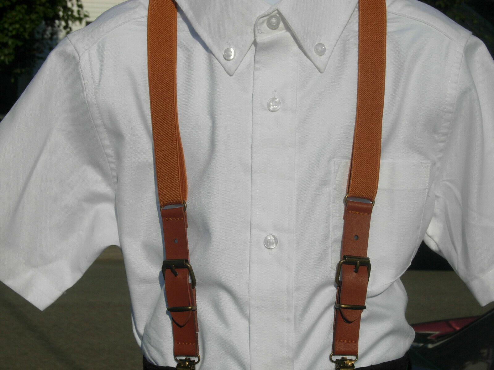 Boys Suspenders / Brown Suspenders with Faux Leather Buckles / 2 - 8 years old
