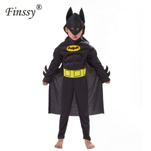 Dark Knight Batman  Fancy Dress Boys Superhero Carnival Cosplay Costume Purim