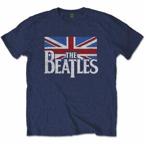 THE-BEATLES-Drop-T-Logo-Vintage-Flag-Mens-t-Shirt-Unisex-Tee-Official-Merch-Navy
