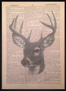 VINTAGE Stag HEAD DEER PRINT dizionario pagina WALL ART PICTURE CACCIA Lodge  </span>