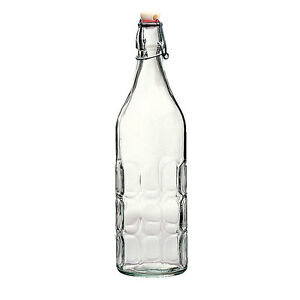 Bormioli-Rocco-Moresca-1L-33-3-4-oz-Swing-Top-Bottle-Clear-Glass-NEW-Lot-A