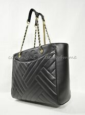 NEW Tory Burch Alexa Leather Flat Tote Bag Purse Quilted Black NWT $595