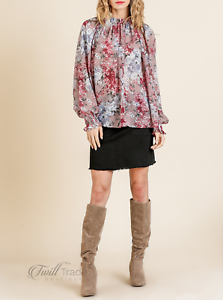 Umgee-USA-Sheer-Floral-Print-Puff-Sleeve-Smocked-Neck-Top-NWT-Size-S