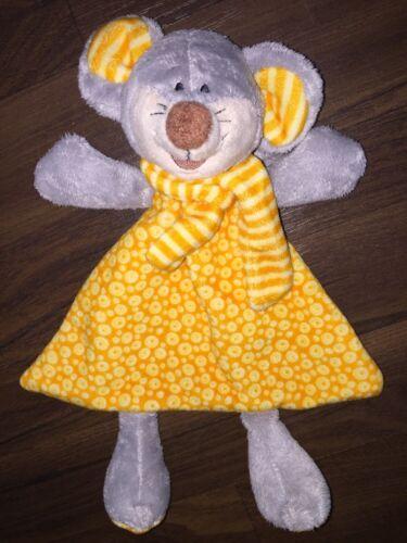KIK Schmusetuch Kuscheltuch Rassel Kopf Maus Orange Gelb Kleid Grau 1 Stück