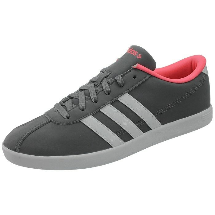 Adidas VLCOURT Femmes Low-top Baskets Gris/Blanc/Rose Chaussures Loisirs Neuf