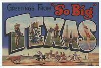 """Greetings from """" So Big """" Texas, Cowboys, Horses -- Modern Large Letter Postcard"""
