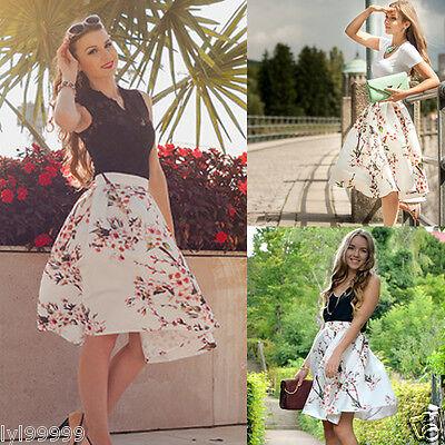 New Women Summer Floral Beach Boho Pleated Retro Long Elastic Waist Skirt Dress