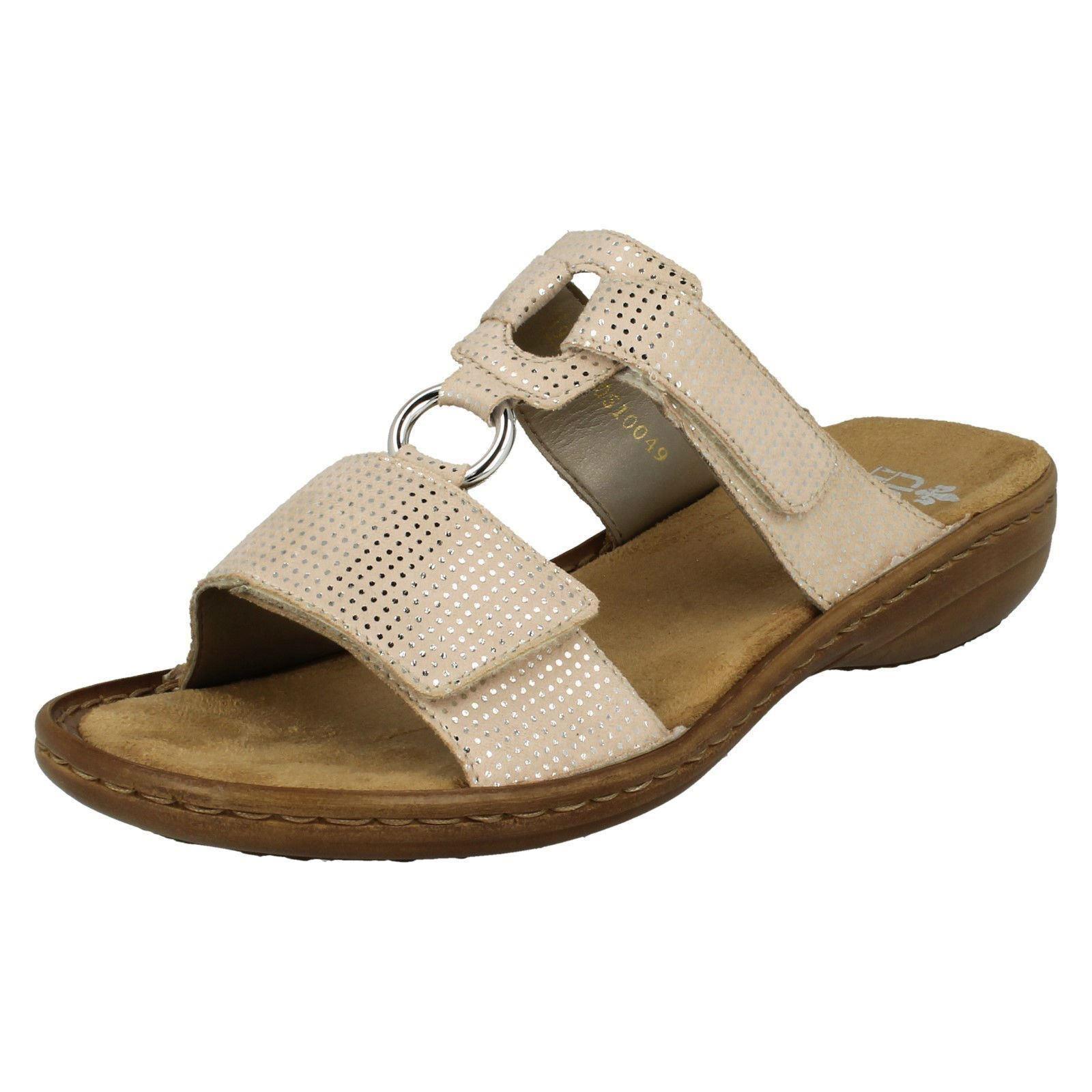 Damen oder Rieker 608P9 Blau oder Damen Beige Pantoffeln Sandalen Slipper b2beca
