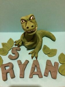 Personalised Cute T-Rex Cake topper Personalised Dinosaur Cake topper ANY AGE NAME T-Rex Dinosaur Party Supplies Dinosaur Cake topper