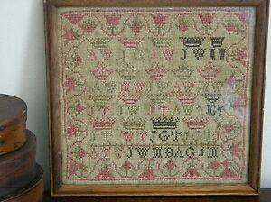 Original Small Needlework School Girl U.K. Sampler, circa 1838, Framed, N.R.