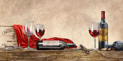 Sandro Ferrari: Grand Cru Wines Keilrahmen-Bild Leinwand Wein Küche Stillleben
