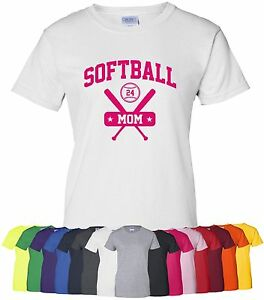 Personalized-034-Softball-Mom-034-Ladies-Tee-or-T-Shirt-S-4XL-parent-team-mother-girls
