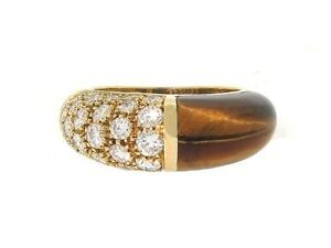 a5d6707b58775 Details about AUTHENTIC Cartier Diamond and Tiger's Eye Ring in 18K Yellow  Gold Size 4.5 7.4g