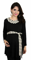 Stripped Black Detail Maternity Clothes Basic Top Long Sleeve Babyshower
