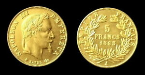 COPIE-Piece-plaquee-OR-GOLD-Plated-Coin-5-Francs-Napoleon-Tete-Lauree-1863-A