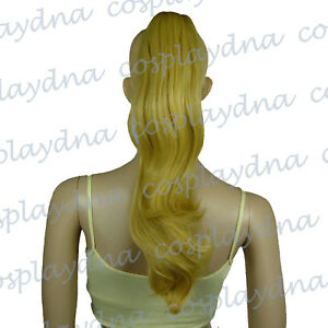 16-inch-Heat-Stylable-Beige-Blonde-Clipon-Curly-Cosplay-Ponytail-4086