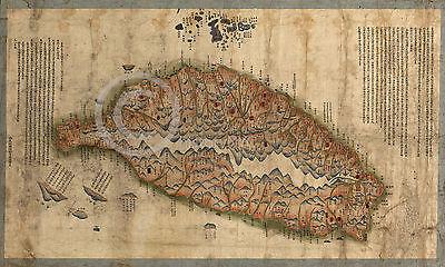 1880 LARGE HISTORIC WALL MAP TAIWAN CHINA