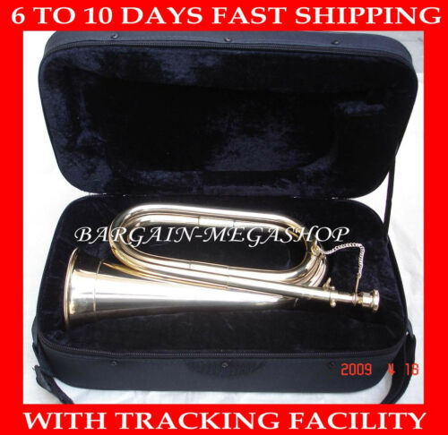 TUNABLE CHROME PLATED PROFESSIONAL SCHOOL ARMY MILITARIA BOY SCOUT BUGLE+CASE Q