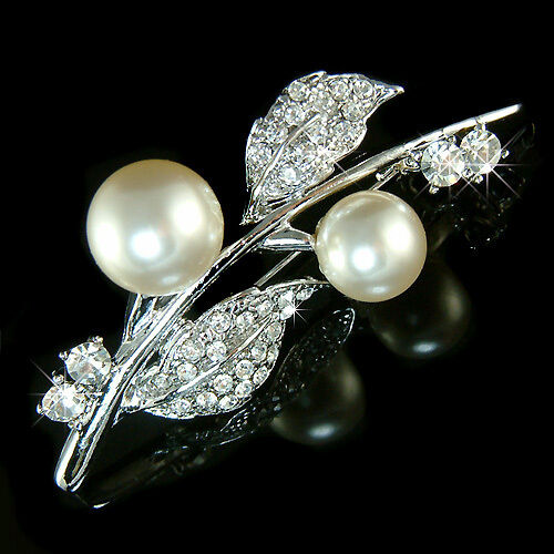 87303d340ba W Swarovski Cristal white Crème Mariage Noces Floral Perle Fleur Broche  nwlfyq19085-Brooches & Pins