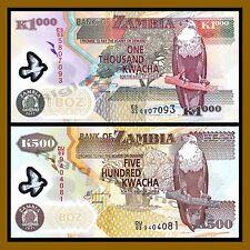 SET Zambia 2011 POLYMER 500;1000 Kwacha UNC P-43h-44h